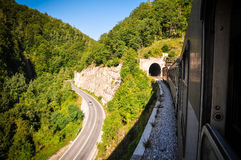 Train traveling royalty free stock photos