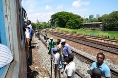 Train traveling in Srí Lanka Royalty Free Stock Photo