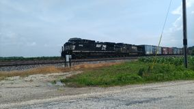 Train traveling west near West point Indiana Royalty Free Stock Image