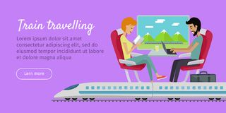 Train Travelling Conceptual Web Banner. Railway Royalty Free Stock Photos