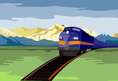 Train travelling with mountain Royalty Free Stock Photos