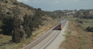 Train travelling on the tracks. At high speed stock footage