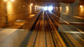 Train travelling under tunnel point of view. Or pov stock video