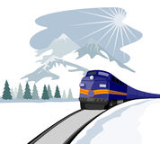 Train travelling during winter Stock Images