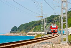 Train travels along the coast of the Black Sea Royalty Free Stock Photography