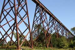 Train trestle. An old long high train trestle in southern Indiana Stock Photography