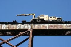 Train trestle repair Royalty Free Stock Photography