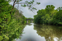 The Train Trestle. The river in West Bend Royalty Free Stock Photo