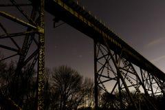 Train trestle and stars. Train trestle in Shelby Park Nashville, TN Stock Photo