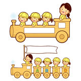 The train trip is an enjoyable kindergarten student. Education a Stock Photography