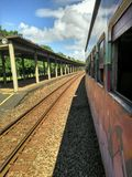 Train trip, watching the rails. Brazil Royalty Free Stock Photography