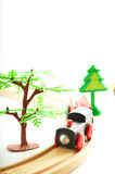Train and truck, crane. Toys for children. Royalty Free Stock Photography