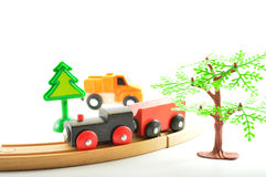 Train and truck, crane. Toys for children. Royalty Free Stock Image