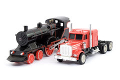 Train and truck toys Stock Images