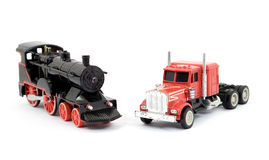 Train and truck toys Stock Photos