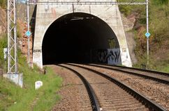 Train tunnel entry Stock Photography