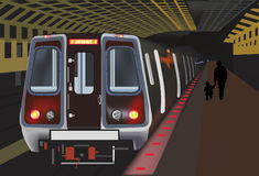 Train in tunnel illustration Royalty Free Stock Photos
