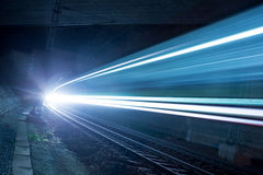 Train in a tunnel at night Stock Photos