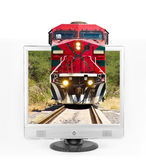Train through tv Stock Image