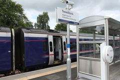 Train at Tweedbank station on Borders Railway Royalty Free Stock Photography