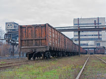 Train under loading of coal at a coal mine Royalty Free Stock Photography