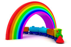 Train under rainbow Stock Photos