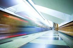 Train on underground station Royalty Free Stock Photo