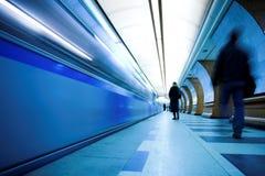 Train on underground station Stock Photography