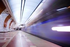 Train on underground station Royalty Free Stock Photography