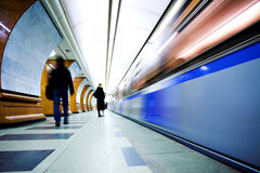 Train on underground station Royalty Free Stock Photography
