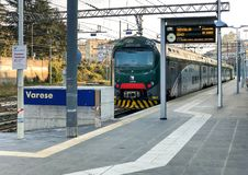 Train at Varese North train Station in the city center, it is one of the three railway stations of the Italian city of Varese. stock image