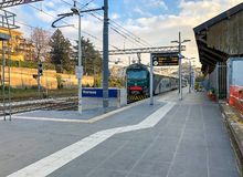 Train at Varese North train Station in the city center, it is one of the three railway stations of the Italian city of Varese. royalty free stock images