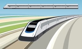 Train (vector). Landscape with train (vector). Colors prepared for printing media Royalty Free Stock Photos