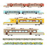 Train. Vector Flat Design Modern Trains Icons Set Stock Photography