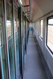Train vestibule or train corridor Royalty Free Stock Photography