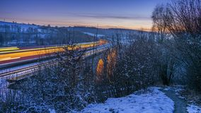 Train on viaduct royalty free stock photography