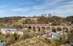 Train on viaduct in Luxembourg Royalty Free Stock Image