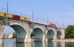 Train on viaduct River Mincio Peschiera Del Garda Royalty Free Stock Photo