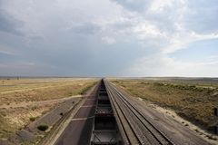 Train vide de charbon au Wyoming Photo libre de droits