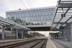 train vide de gare Photos stock