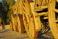 Train of Vintage Hauling Wagons. Train of Vintage Weathered Hauling Wagons used to Transfer Borax from Mines in Death Valley, California Stock Photos