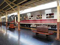 Train at a vintage railway station Royalty Free Stock Photos