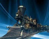 Train vista 3D cool. This image is so cool Royalty Free Stock Photo