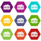 Train waggon with coal icon set color hexahedron. Train waggon with coal icon set many color hexahedron isolated on white vector illustration royalty free illustration