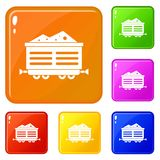 Train waggon with coal icons set vector color. Train waggon with coal icons set collection vector 6 color isolated on white background stock illustration