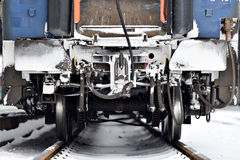 Free Train Wagon Buffers And Links Frozen In Winter Stock Images - 64569514