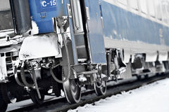 Train wagon buffers and links frozen in winter Stock Images