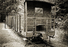 Train wagon in concentration camp Stutthof Stock Photos