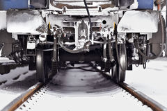 Train wagon detail in winter Royalty Free Stock Photo