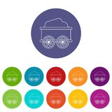 Train wagon icons set vector color stock illustration